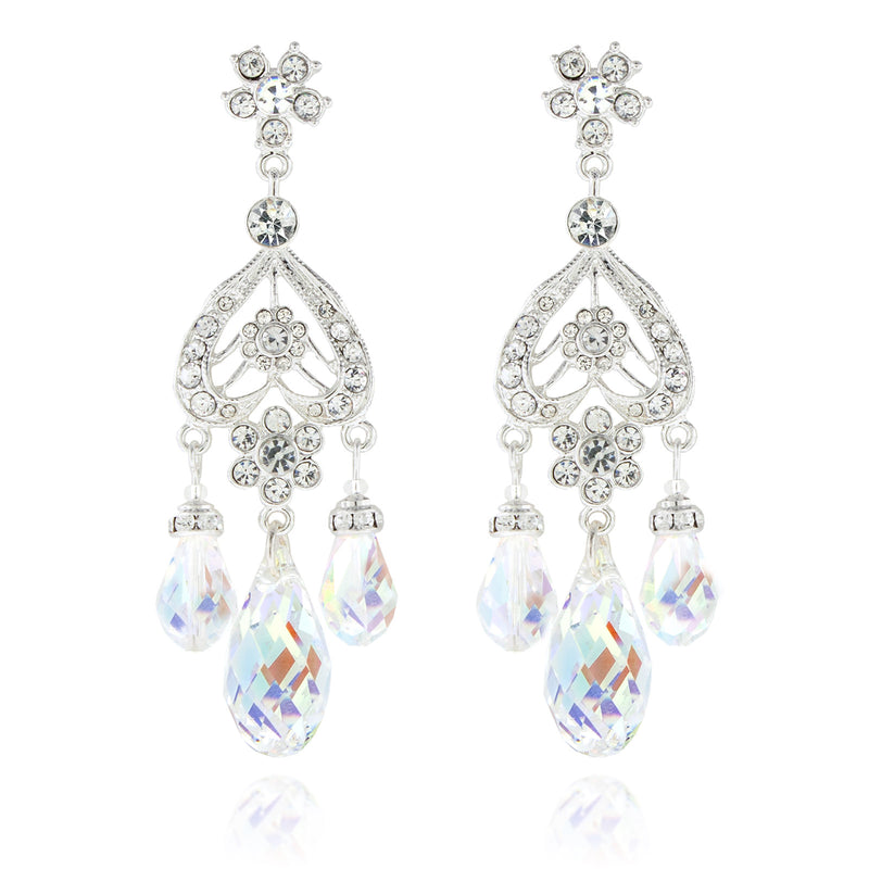 Briolette Chandelier Earrings - AB, Silver