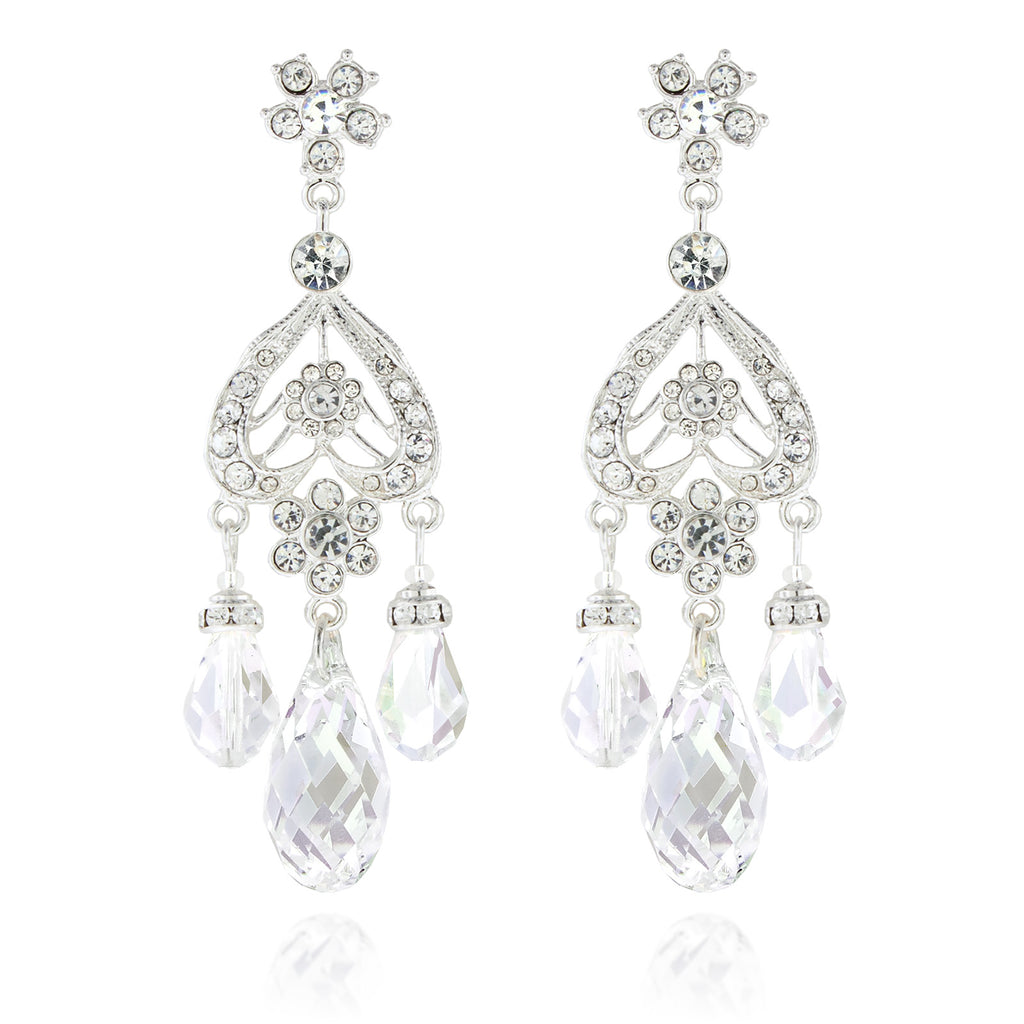 Briolette Chandelier Earrings - Clear