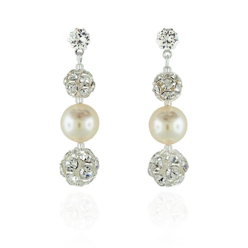 Pearl Earrings with Rhinestone Beads