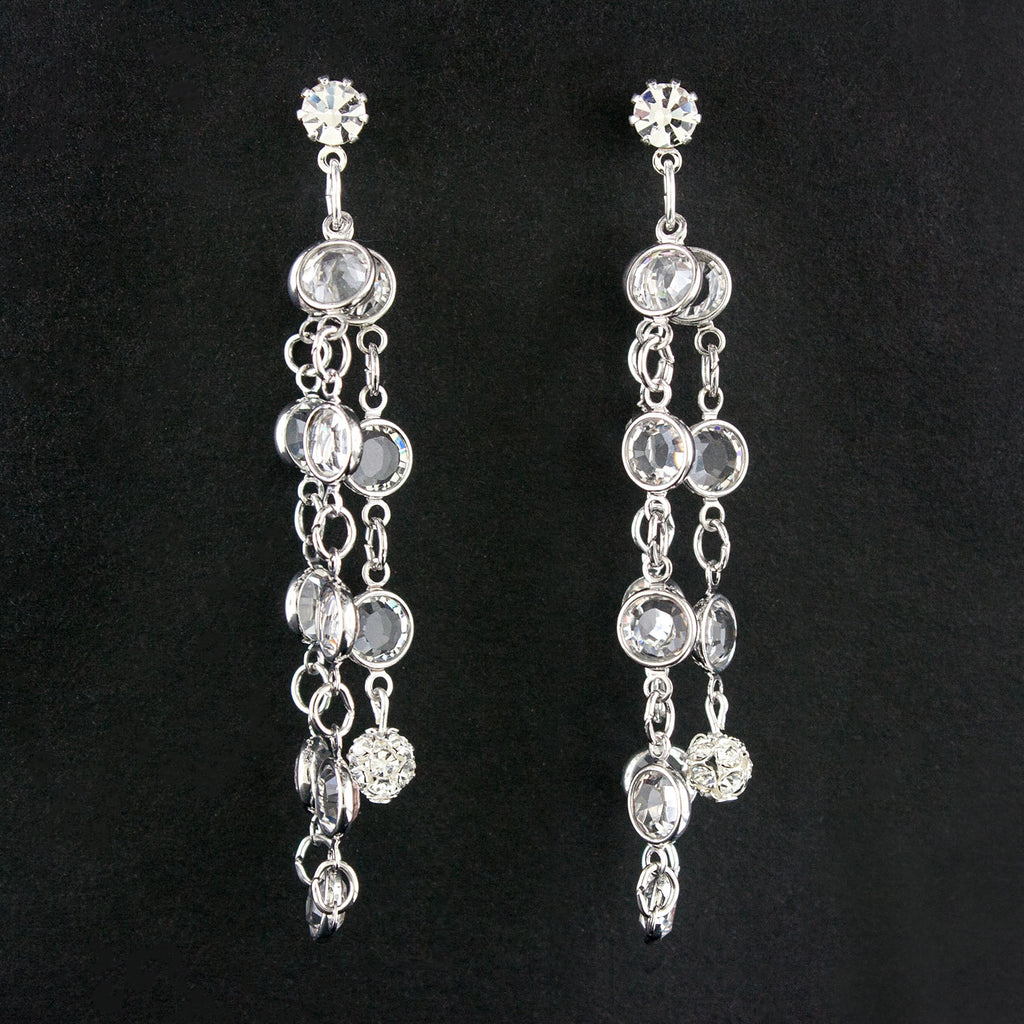 "crystal chain earrings 3"" long"