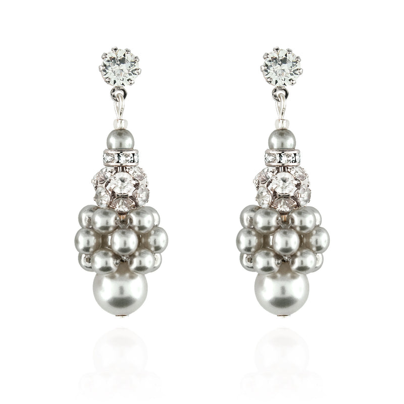 Pearl Cluster Earrings with Rhinestone Beads - light grey, silver