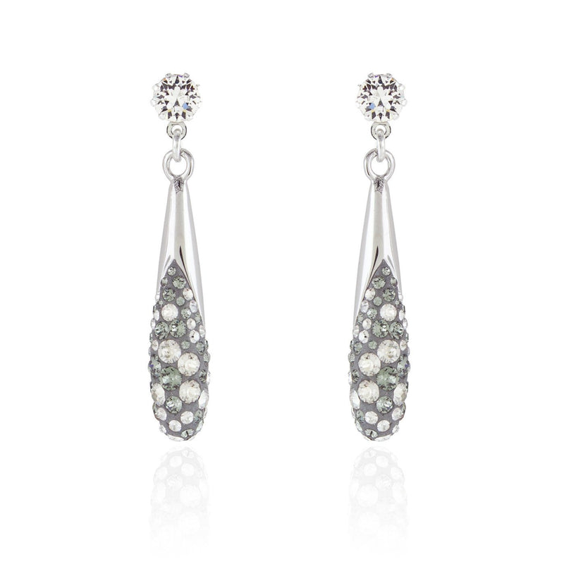 Crystal Studded Fluid Drop Earrings - silver