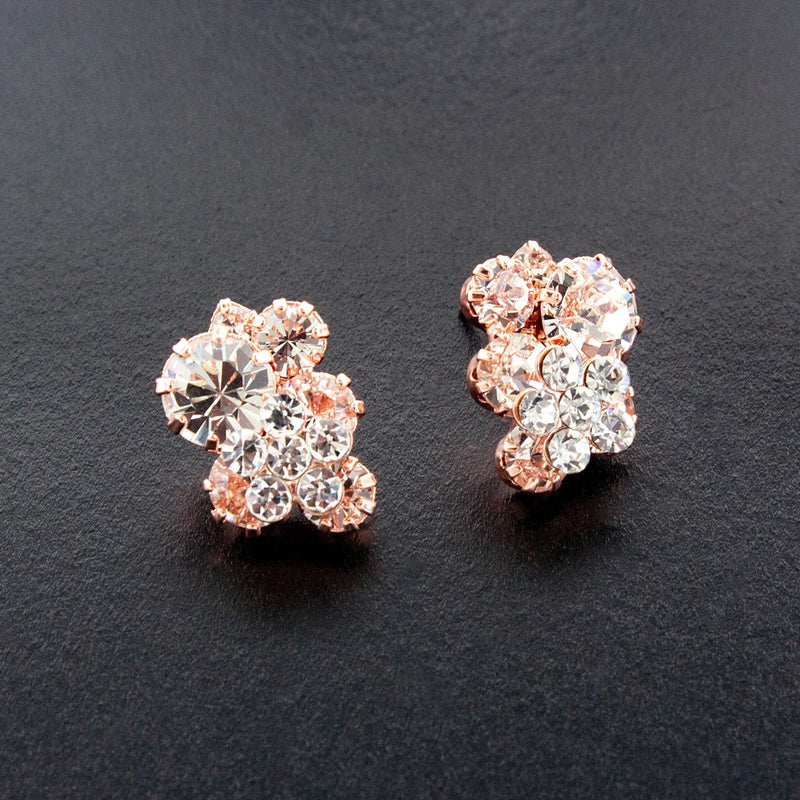 Rose Gold Crystal Cluster Earrings