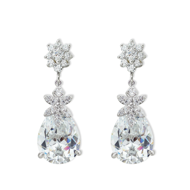 Large Pear CZ Earrings