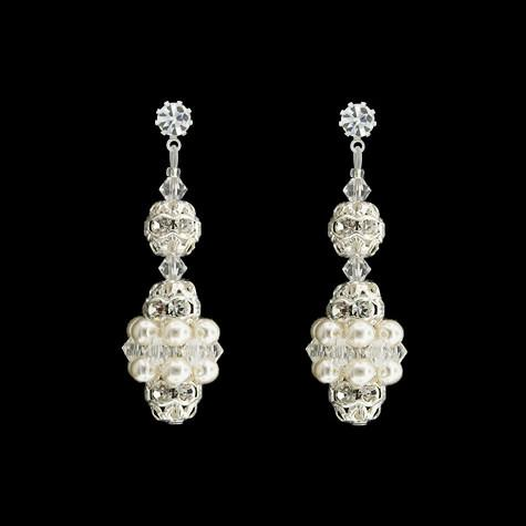 Pearl & Crystal Bridal Earrings - white pearls