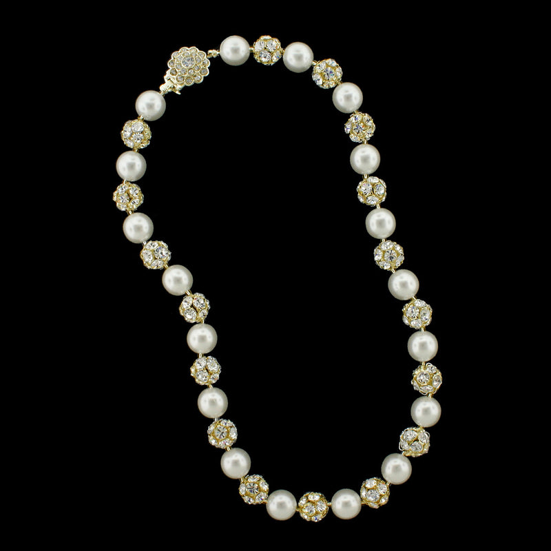 Snow pearl and gold rhinestone bead necklace