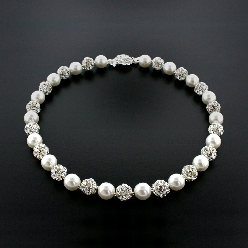 White pearl and silver rhinestone bead necklace