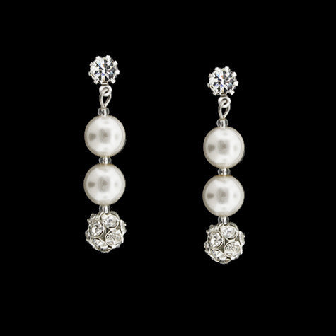snow white Czech pearl earrings - RS077E