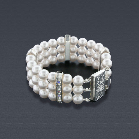 3 Row Pearl Bracelet with Princess Cut Crystals
