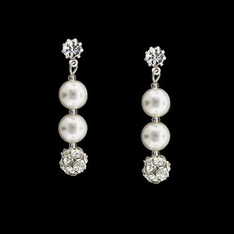 Earrings with Rhinestone Beads & Glass Pearls