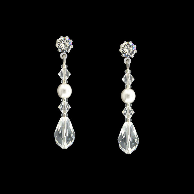 snow white Czech pearl earrings - HOL134E