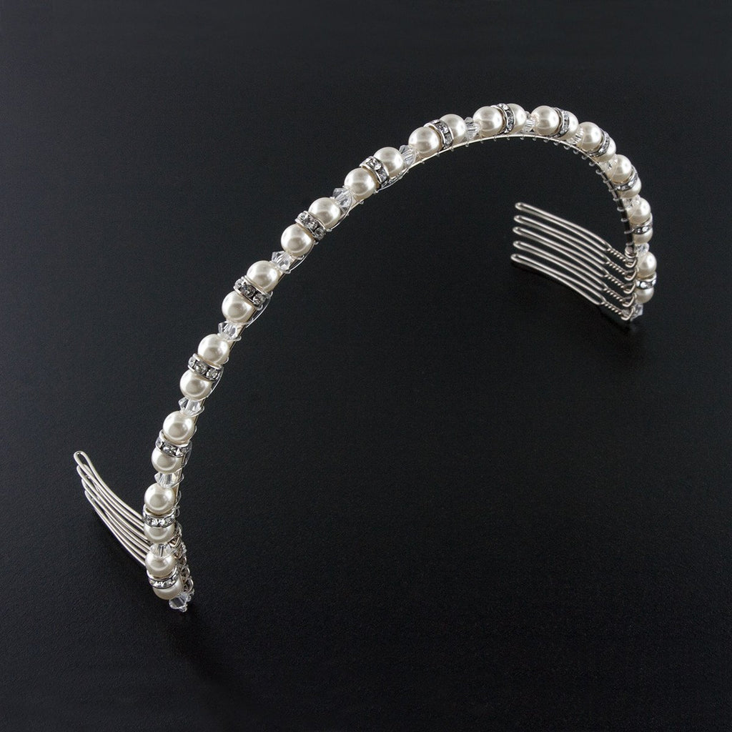 Beaded Pearl & Crystal Bridal Headband - stark white