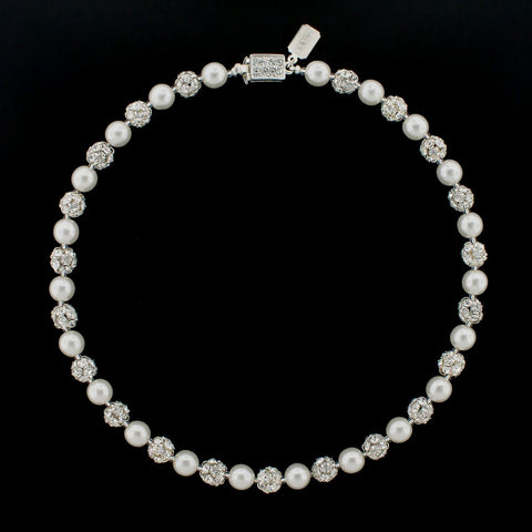Pearl Necklace with Rhinestone Beads