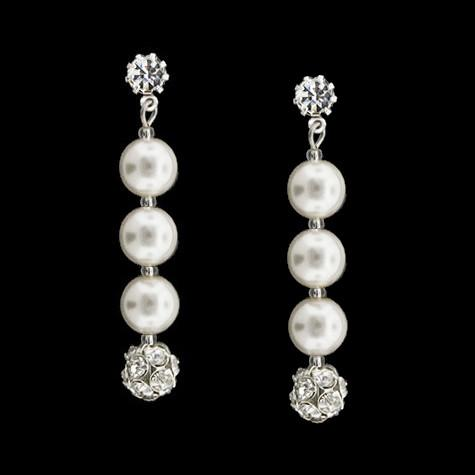 Earrings with Rhinestone Beads & Pearls