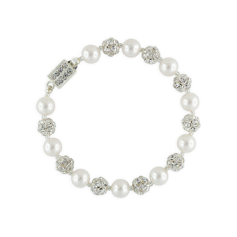 Snow Pearl Bracelet with Rhinestone Beads