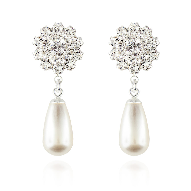Pearl Teardrop Earrings - Silver
