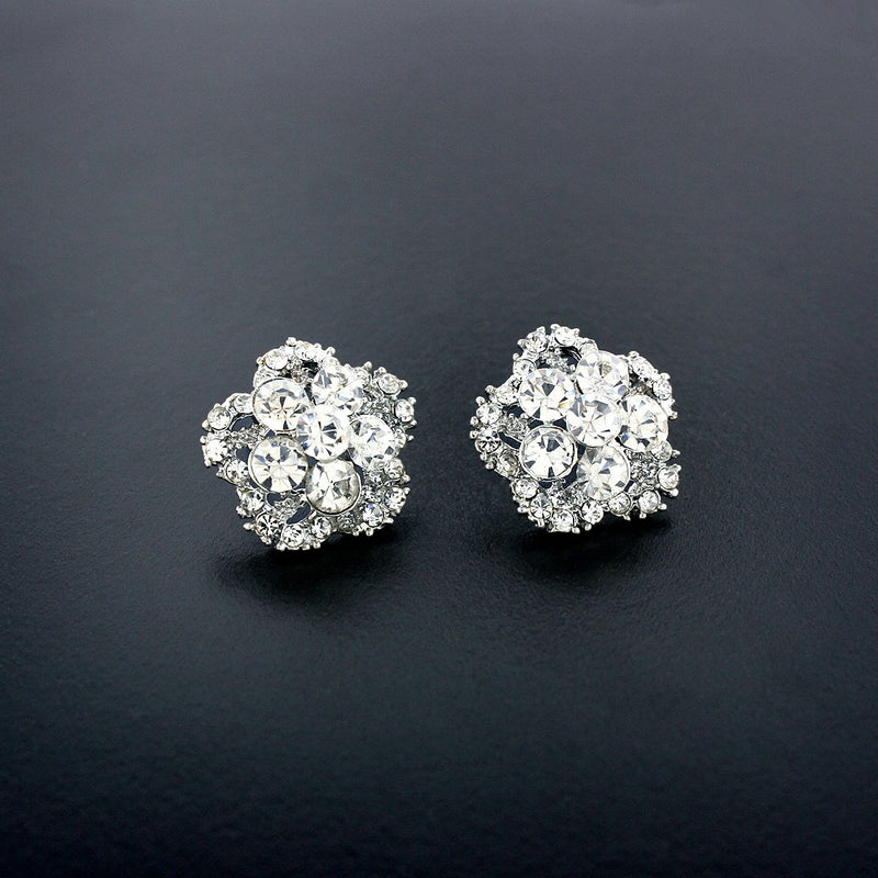 Five Petal Crystal Cluster Earrings, Silver