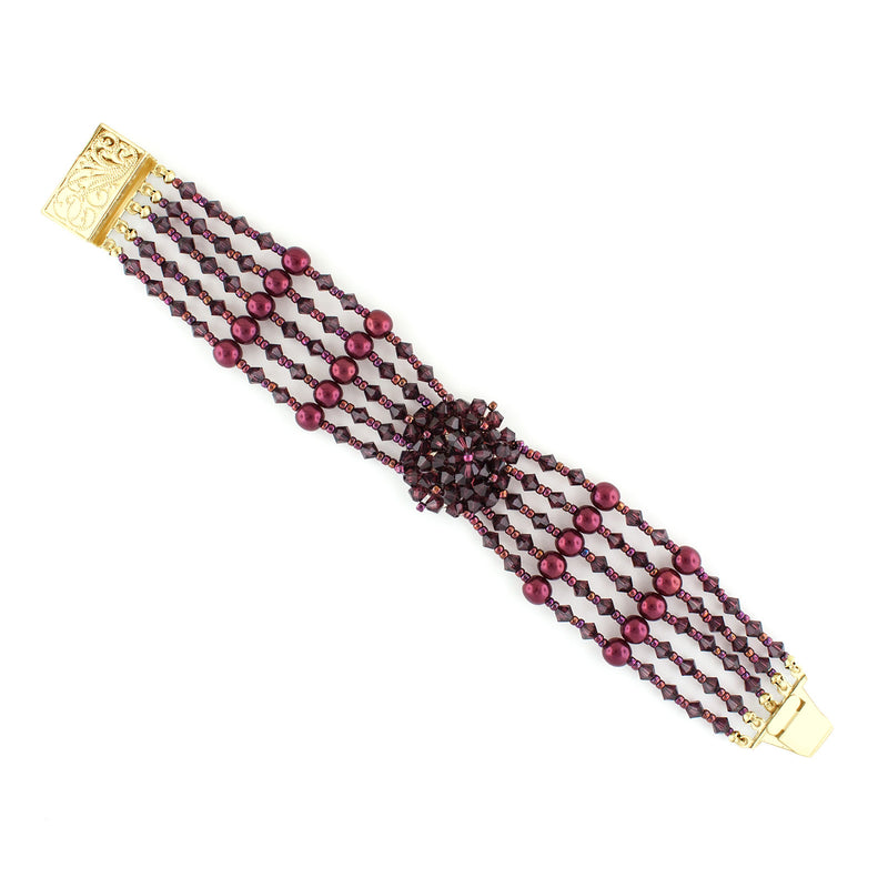 Multi-Row Beaded Bracelet with Cluster - Burgundy, Gold Plate