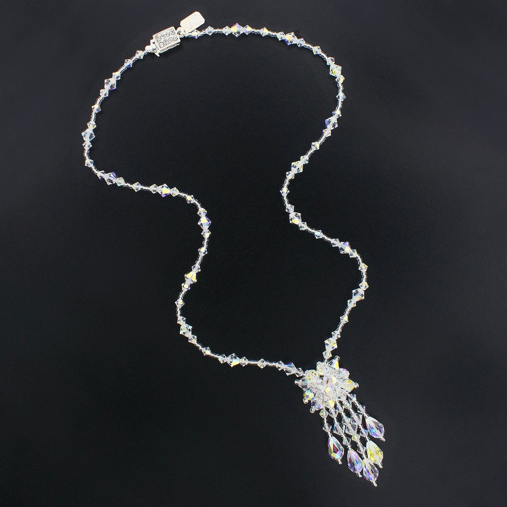 Iridescent Crystal Necklace with Center Cluster