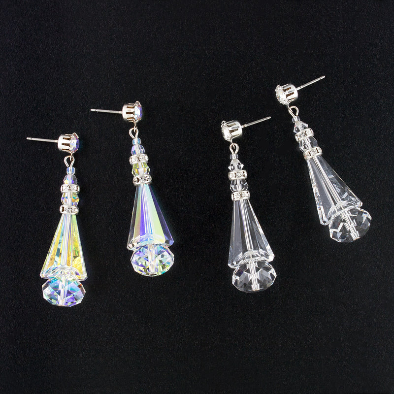 2 pairs of crystal cone earrings