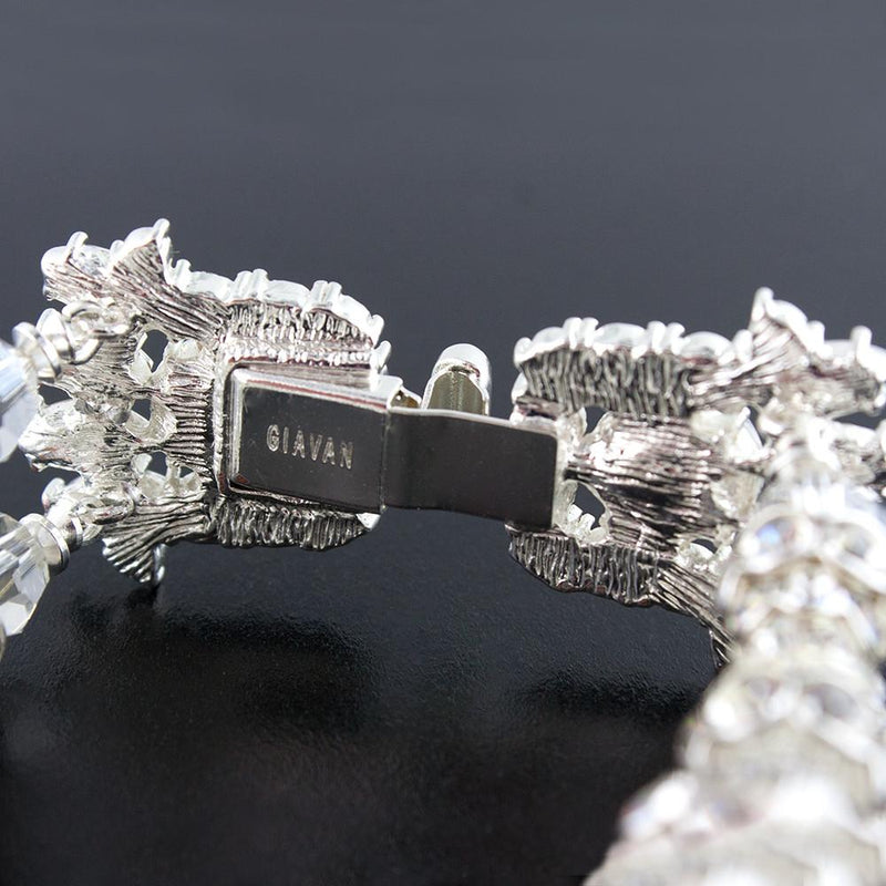 Two Row Embellished Cuff Bracelet - clasp close up