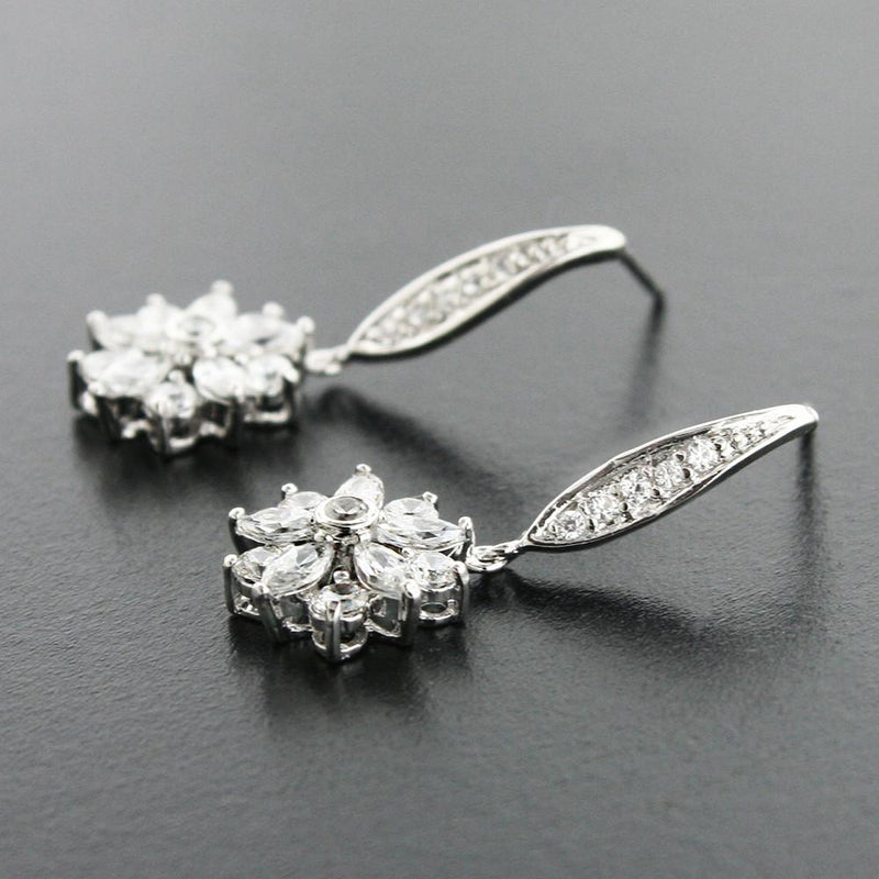 Floral CZ Drop Earrings
