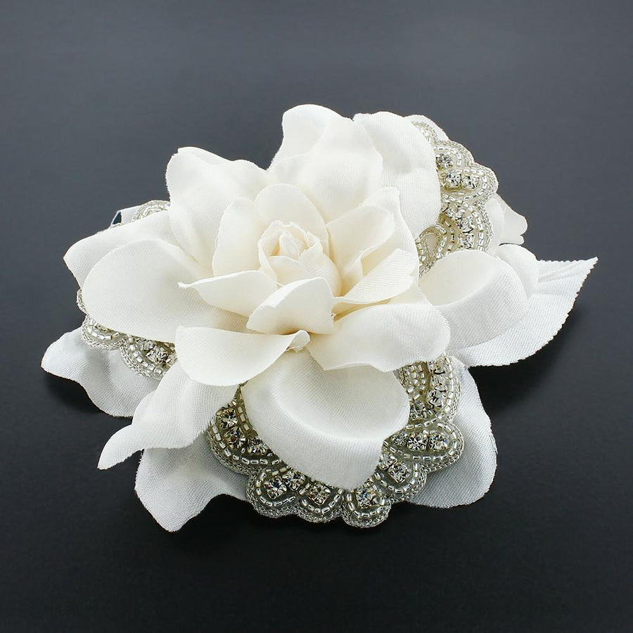 Silk Flower Hair Clip With Crystal Appliques Giavan