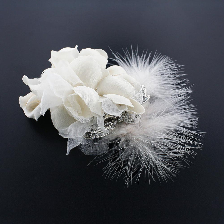 Silk Flower Hair Clip With Feather Giavan