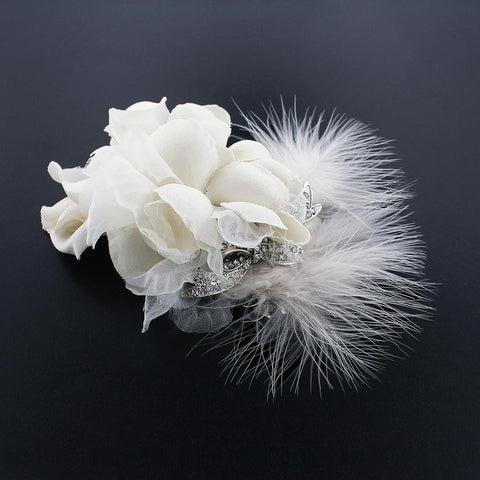 Silk Flower Hair Clip with Feather