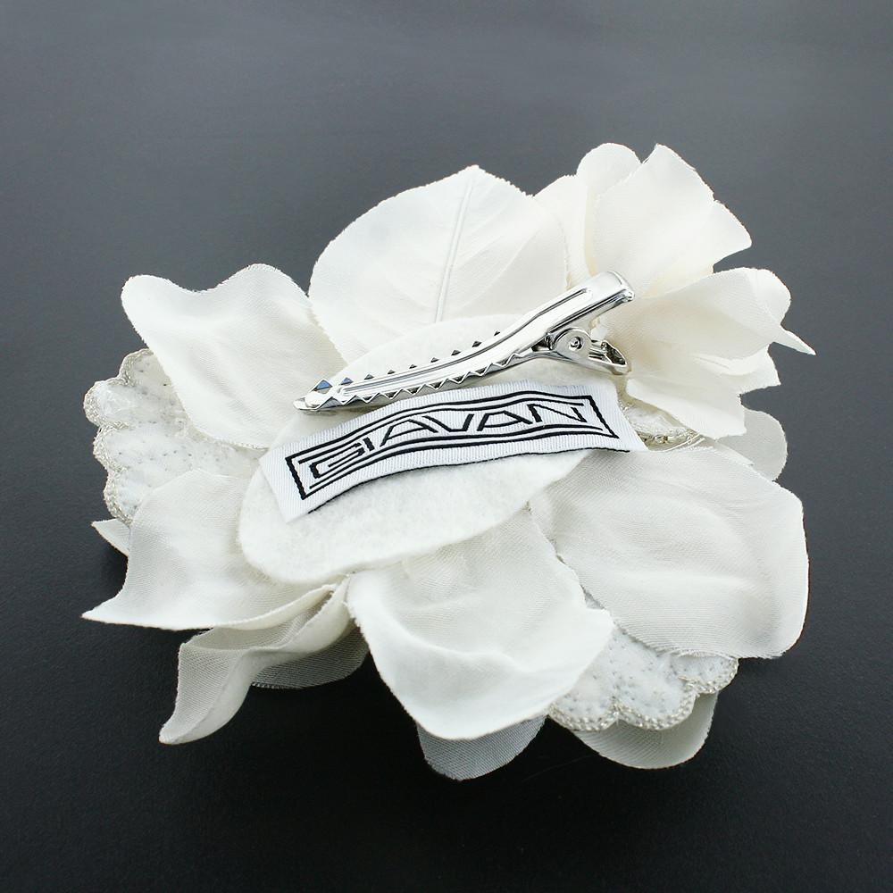 Silk Flower Hair Clip with Crystal Appliques