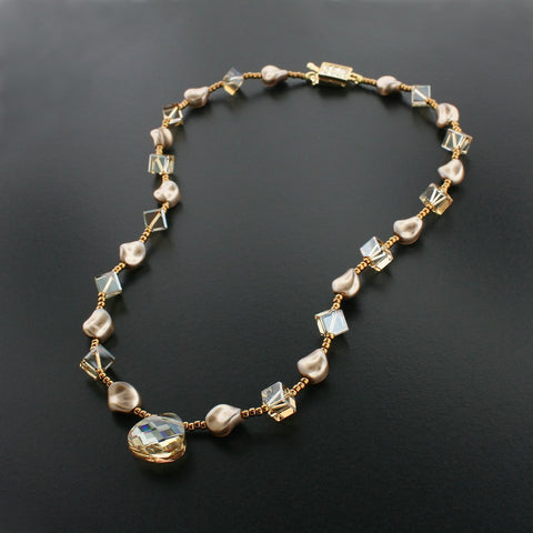 Beaded Champagne Necklace with Drop