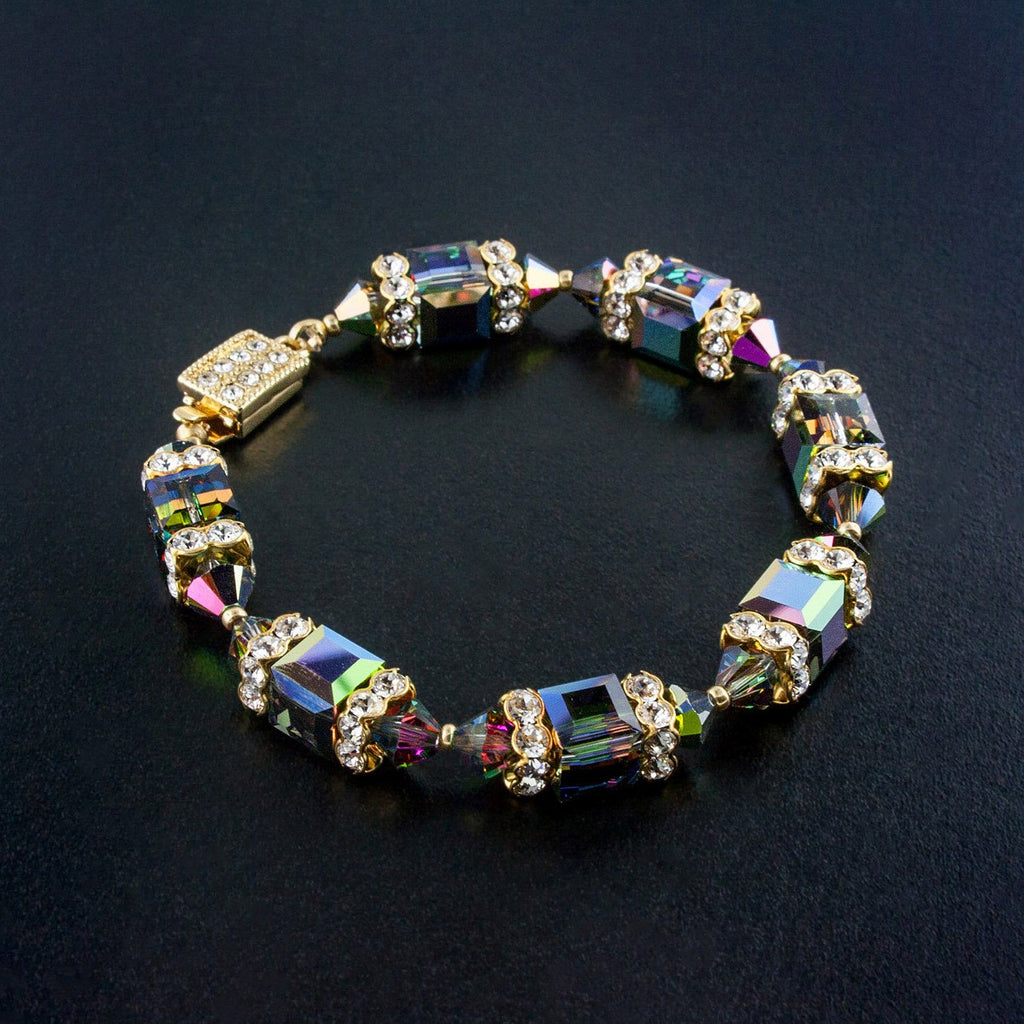 Geometric Beaded Crystal Bracelet in vitrail