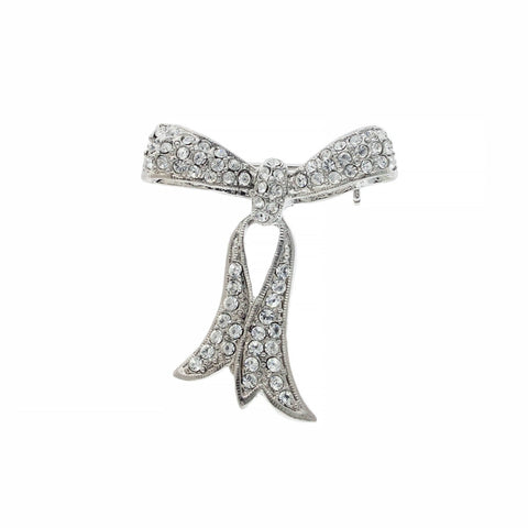 Pave Crystal Bow Brooch