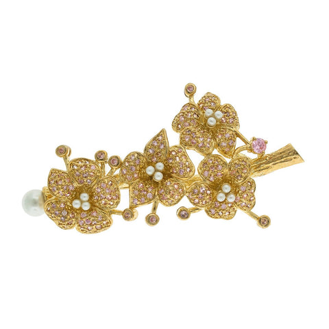 Intricate Floral Brooch with Pink CZ