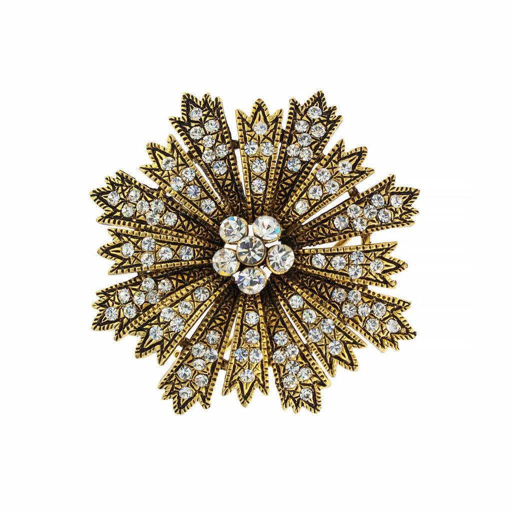 Spikey Round Crystal Pin