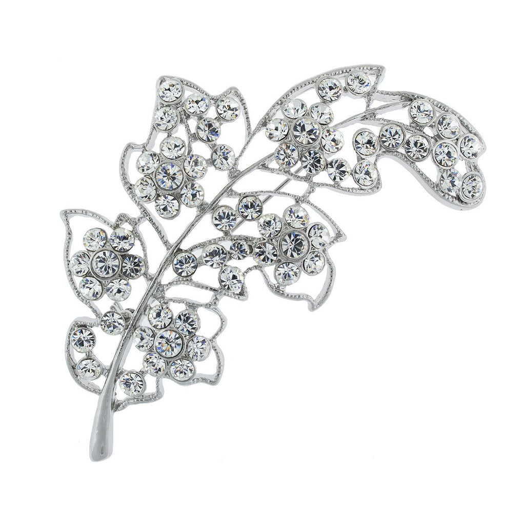 Leaf Brooch with Crystals