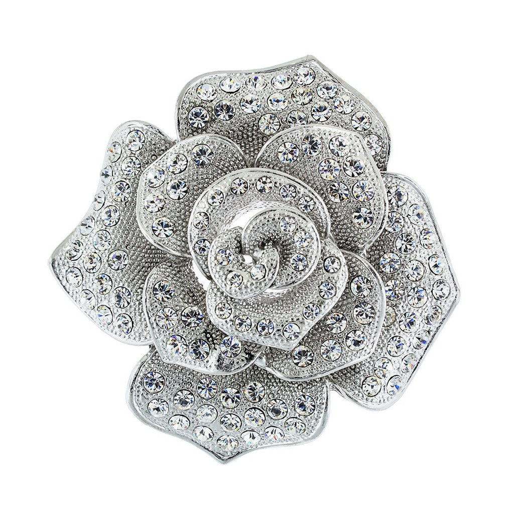 Rose Brooch with Crystal