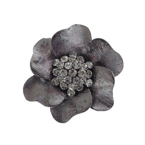 Black Rhodium Floral Brooch