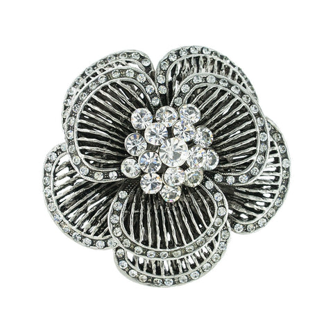 Layered Crystal Floral Brooch