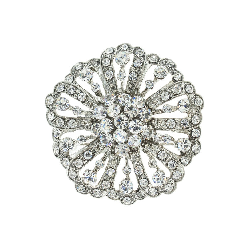 Round Vintage-Inspired Crystal Brooch