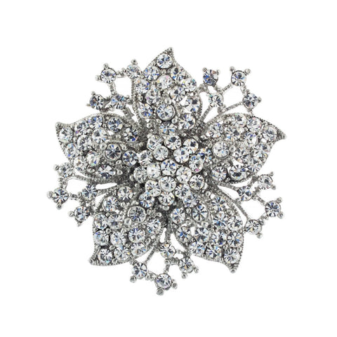 Flower Brooch with Crystals