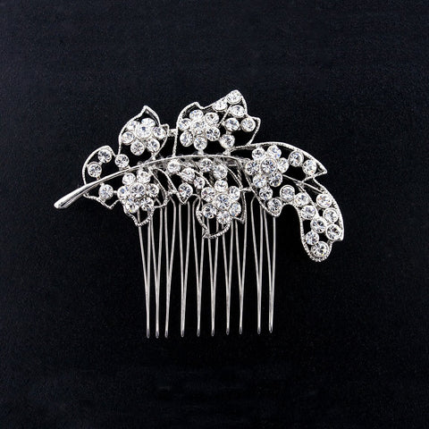 Openwork Crystal Leaf Haircomb