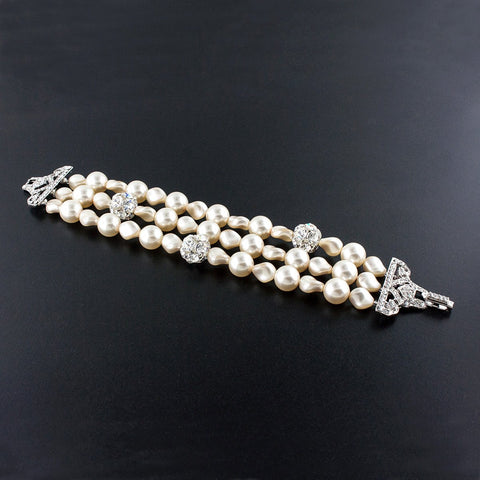 3 Row Pearl Bracelet with Inlaid Crystals