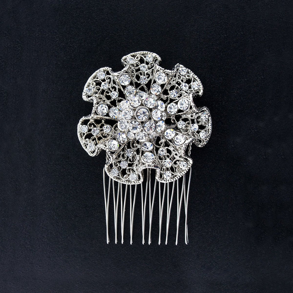 Ruffled Crystal Hair Comb