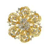 Round Floral Crystal Brooch, Gold