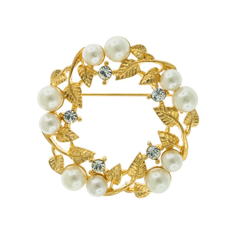 Pearl & Crystal Wreath Brooch, Gold Plate