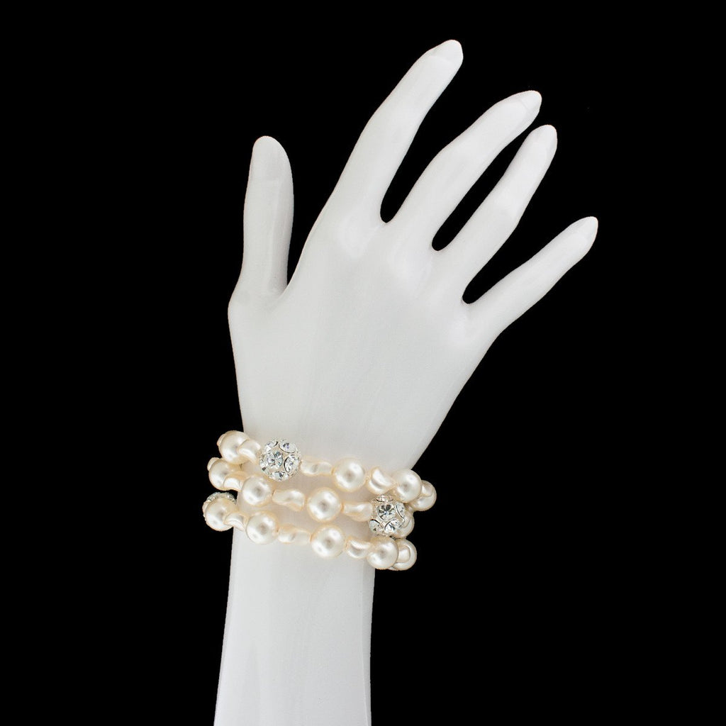 3 Row Pearl Bracelet with Inlaid Crystals on fake hand