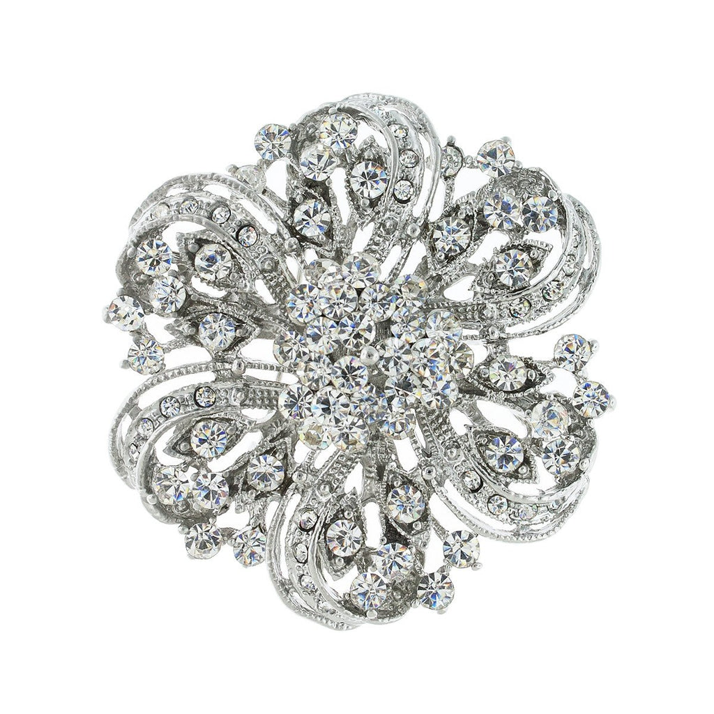 Round Floral Crystal Brooch, Silver