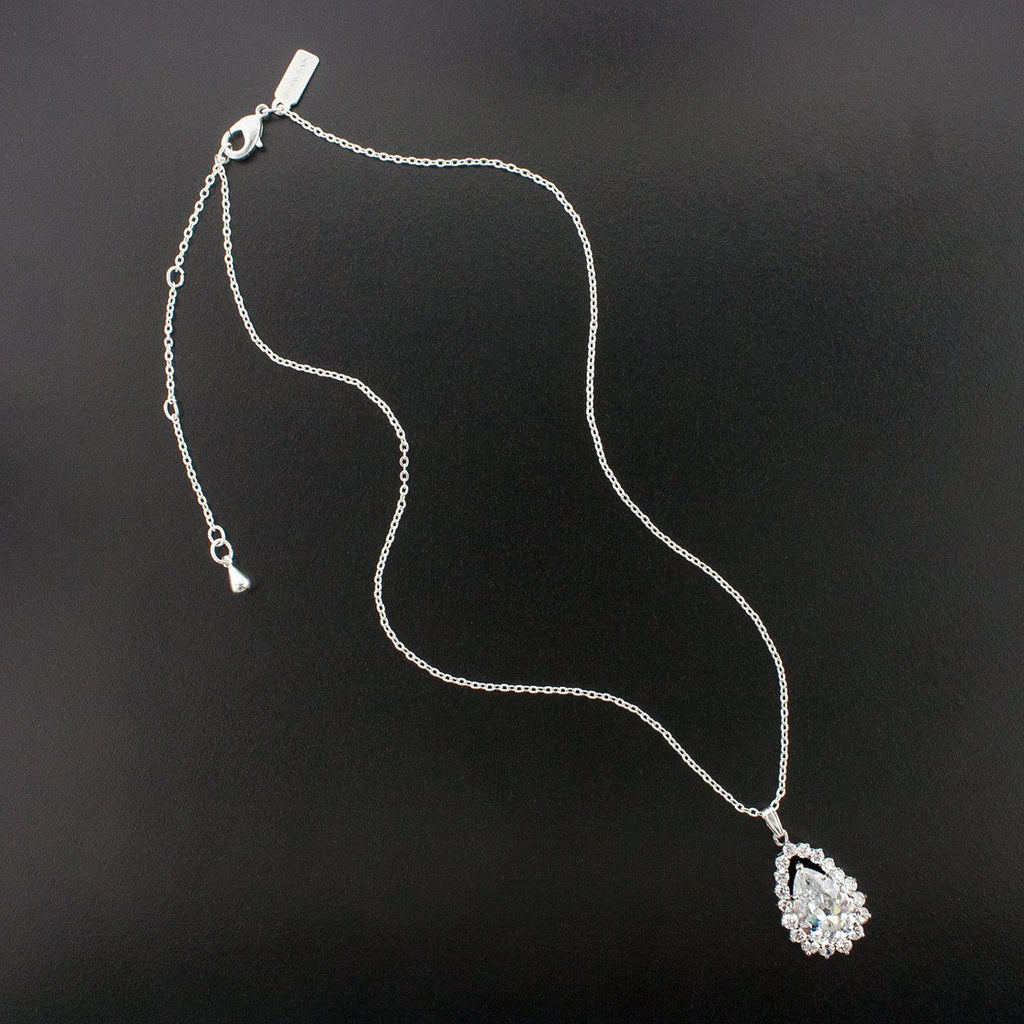 Pear Cut Cubic Zirconia Pendant on Chain