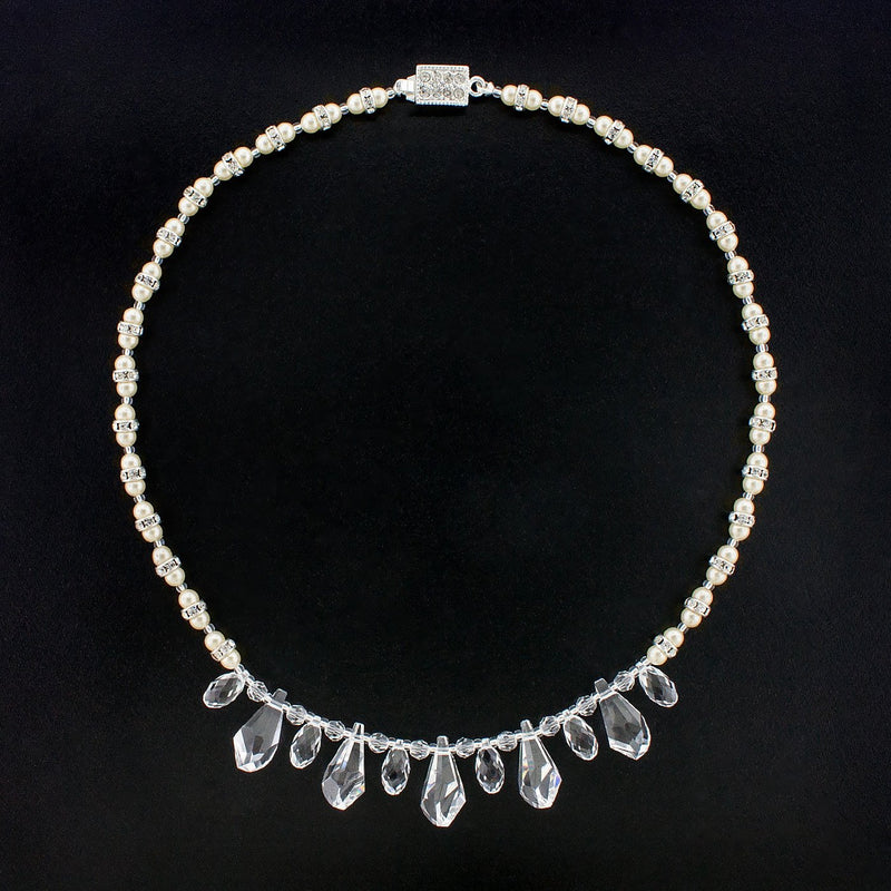 Multi-Drop Crystal Necklace with Pearls - clear/white